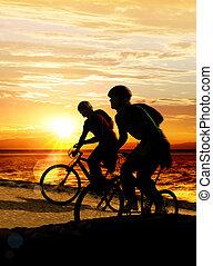 пара, на, bicycles