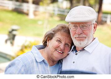 пара, парк, старшая, счастливый