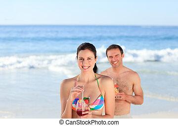 пара, питьевой, , коктейль, на, , пляж