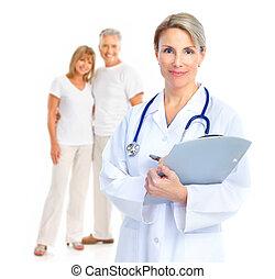 пара, пожилой, врач