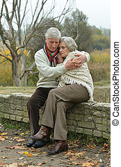 пара, пожилой, красивый