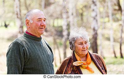 пара, пожилой, счастливый