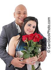 пара, счастливый, camera., портрет, цветы, ищу