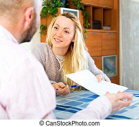 пара, чтение, страхование, контракт