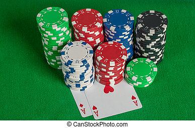 пара, aces, and, покер, чипсы, стек, на, зеленый, таблица