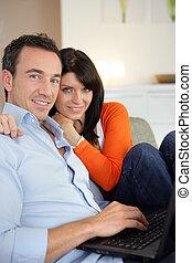пара, browsing, вместе, интернет