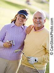пара, enjoying, гольф, игра