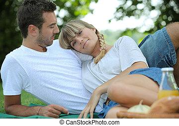 пара, enjoying, , пикник, вместе