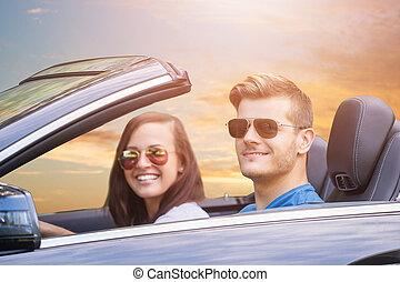 пара, enjoying, поездка, в, автомобиль
