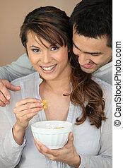 пара, having, завтрак, вместе