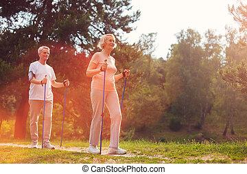 пара, having, пожилой, вместе, ходить