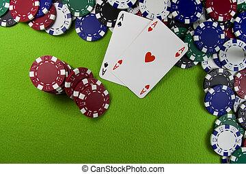пара, of, aces, над, покер, чипсы