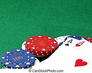 пара, of, aces, на, покер, чипсы