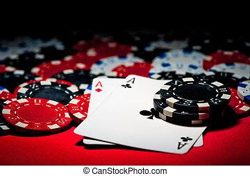 пара, of, aces, and, покер, чипсы