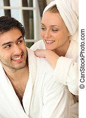 пара, relaxing, вместе, после, , душ