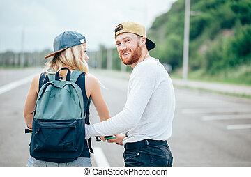 парень, учат, his, девушка, к, поездка, байк