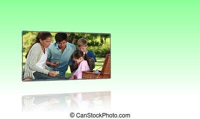 парк, радостный, семья