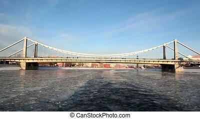 паруса, лед, вдоль, fragments, река, корабль