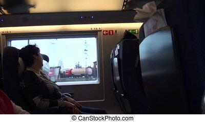, пассажир, в, поезд