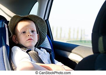пассажир, немного, мальчик, автомобиль, милый