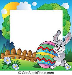 пасха, рамка, with, кролик, держа, яйцо