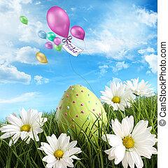 пасха, трава, яйцо, daisies