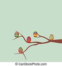 пасха, яйцо, дерево