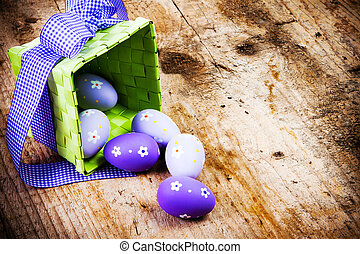 пасха, eggs, окрашенный, на, , деревянный, background.