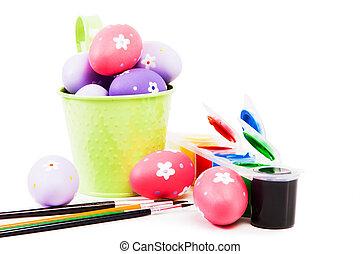 пасха, eggs, окрашенный, with, различный, brushes.