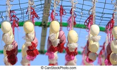 пасха, eggs, подвешивание, на, , ribbons