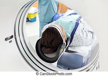 пациент, undergoing, коннектикут, сканирование, контрольная...