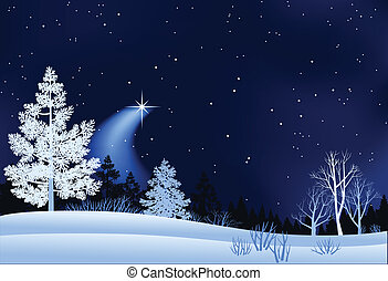 пейзаж, зима, иллюстрация