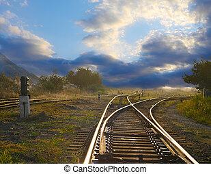 пейзаж, with, железная дорога, rails