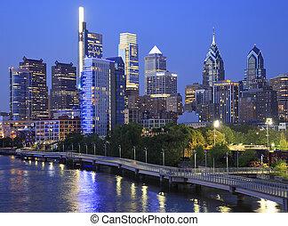 передний план, линия горизонта, филадельфия, schuylkill, ночь, река