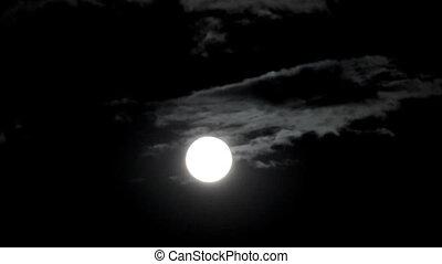 перемещение, timelapse, clouds, между, луна