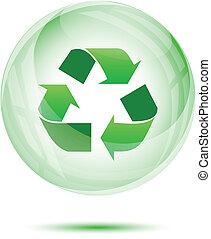 перерабатывать, сфера, зеленый, стакан, знак