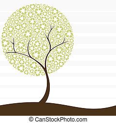 переработка, концепция, дерево, ретро