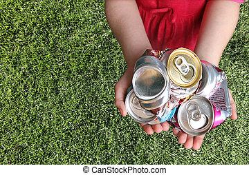 переработка, cans, алюминий, раздавленный