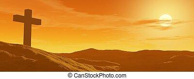 пересекать, от, закат солнца