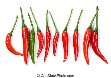 перец чили, горячий, перец, красный