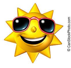 персонаж, счастливый, солнце