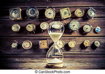 песочные часы, with, flowing, песок