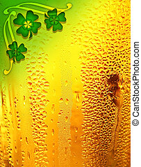 пиво, задний план, with, клевер, граница