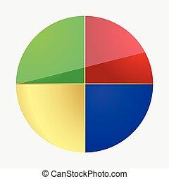 пирог, раздел, диаграмма, равный