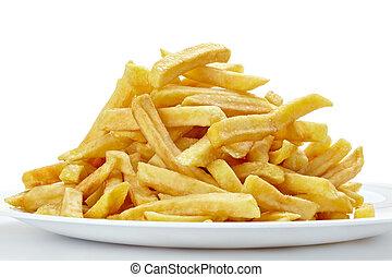 питание, быстро, нездоровый, fries, французский