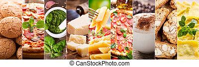 питание, коллаж, of, итальянский, кухня