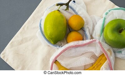 питание, мешки, многоразовый, поход по магазинам, fruits