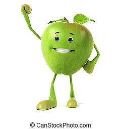 питание, персонаж, -, зеленый, яблоко