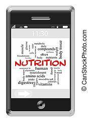 питание, слово, облако, концепция, на, сенсорный экран, телефон