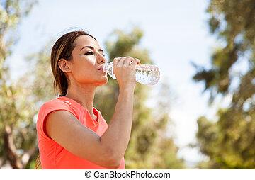 питьевой, воды, на открытом воздухе